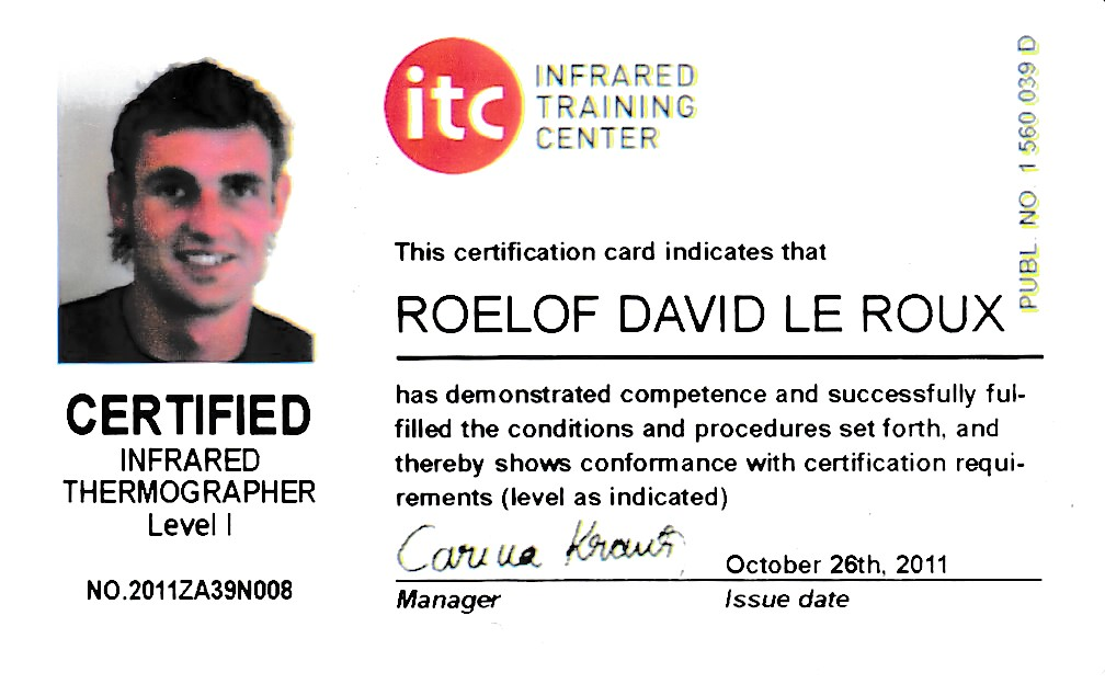 certified Infrared thermographer level1
